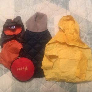 Travel Pet food/water container and 3 Dog coats